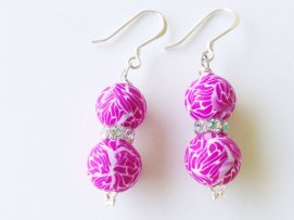 Fuchsia Crackle Earrings https://www.etsy.com/listing/155018570/fuchsia-polymer-clay-beads-earrings?ref=shop_home_active