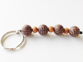 Brown Stripe Keychain