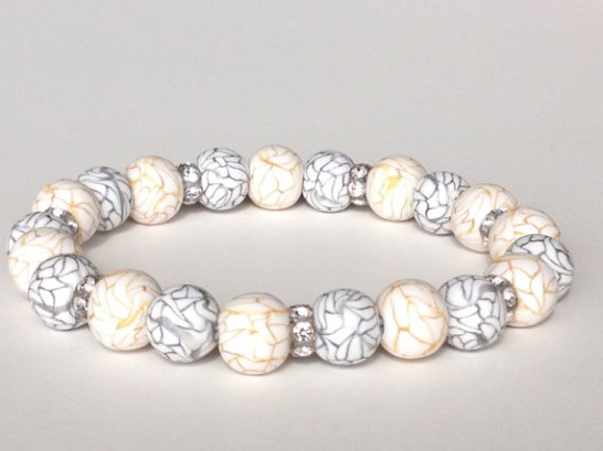 Silver and Gold https://www.etsy.com/listing/169856802/polymer-clay-bead-bracelet-faux-howlite?ref=shop_home_active
