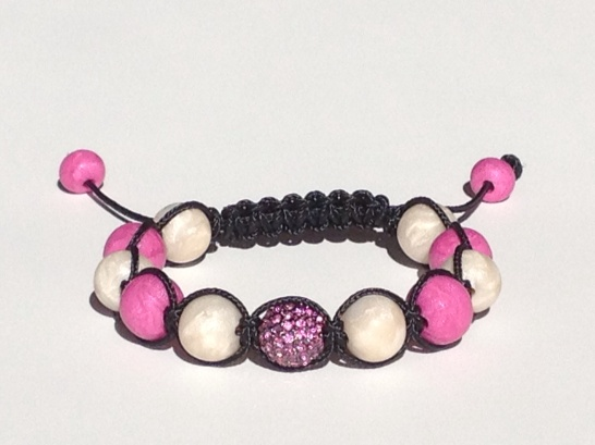 Fuchsia Pink and Pearl Shamballa https://www.etsy.com/listing/176050138/shamballa-bracelet-polymer-clay-beads?ref=related-0