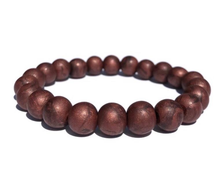 Metallic bronze bead bracelet
